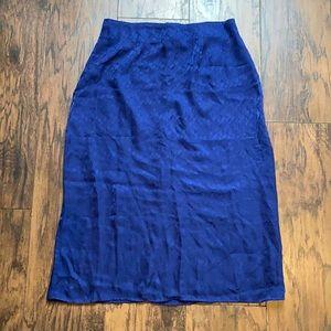 Reformation Blue Silk Midi Skirt